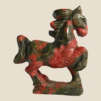 """Beautifully Colored Hand-Carved Miniature Horse of Unakite, Said To Be """"The Ultimate Stone For Living Out The Spirit Of Carpe Diem"""""""