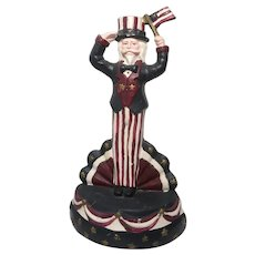 Uncle Sam Cast Iron Doorstop,  Polychrome Painted.