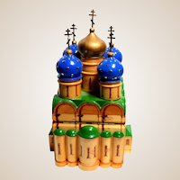 SIGNED Russian Folk Art Carving Of Building With Onion Domes