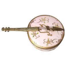 Unusual Dresser Box or Trinket Box In The Form of A Stringed Instrument, Perhaps A Banjo