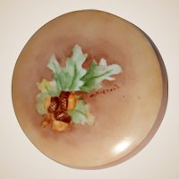 Signed Pedestal Larger Dresser Box or Trinket Box/Jewelry Box With Leaves and Acorns