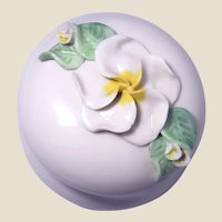Porcelain Powder Box (or Trinket Box or Jewelry Box) or Dresser Box) With Elegant Flower on Top