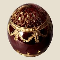 Art Deco Beautifully Etched Deep Red Glass Ovoid Finial or Paperweight -- Perfect For Holiday Decor
