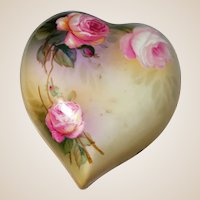 Large Heart Shaped Porcelain Dresser Box or Trinket Box (or Jewelry Box) With Very Lovely Roses