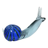 Exquisite Large Murano Snail Art Glass Sculpture. Signed/Dated  1974