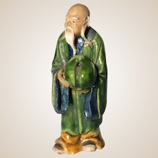 "Chinese Mudman ""Star Of Long Life"" Shou Lao Bearing An Oversized Peach (Symbol of Longevity And Immortality)"