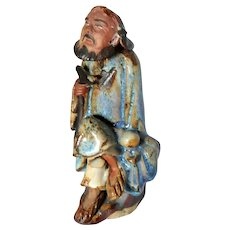 VERY RARE Chinese Mudman Immortal LI Tieh Kuai With Gourd And Crutch, Believed To Ward Off Sickness When In This Effigy
