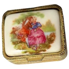 Vintage Bronze Pill Box With Painted Courtship Scene