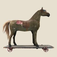 FOLK ART  Platform Horse Pull Toy - LARGE 20 inches tall.
