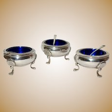 Three Fisher Sterling Silver Salts or Sugars With Blue Inserts - Makes Your Table Elegant.