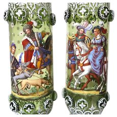 Exquisite and Rare PAIR of Bohemian Glass and Enamel Footed Vases, Signed