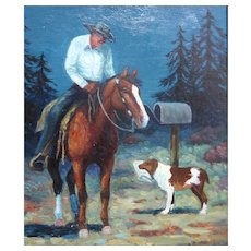 "VERN PARKER (American 1889 - 1978) - .Original Signed Oil On Canvas = - ""Doing His Part"""