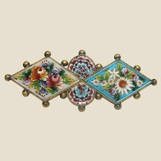 Antique Micromosaic Brooch, By Fabbrica Angelo Pessar Micro Mosaic, Marked With F. A. P., Exquisite Floral Circa 1870.