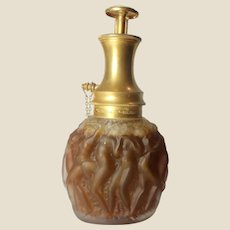 R. LALIQUE Frosted Glass Le Provencal Perfume Atomizer for Molinard, circa 1927, Listed, Signed, RARE AND WONDERFUL!