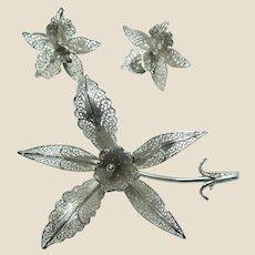 Sterling Silver Filligree Portugese Floral Brooch and Earrings Set, Vintage