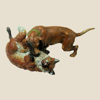 Vienna Bronze  (WIENER BRONZEN) Signed Multi-Figural Bronze Sculpture Of A Dog And A Fox.  (Would Make A Very Special Paperweight!)
