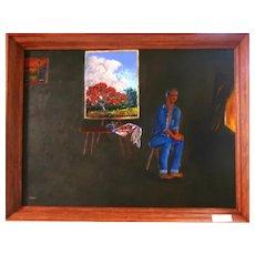 Original Florida Highwaymen Charles (Chico) Wheeler (1946-2019) -Self Portrait In His Studio