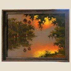 "ORIGINAL HALL OF FAME FLORIDA HIGHWAYMEN   - Willie Daniels (American b. 1950) - -Original Signed Oil On Canvas ""St. Lucie Sunset"""