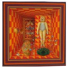 YAN MACS (Latvian, 1933 - 1993) Original Signed Oil On Panel - Transfixed Fettish Mummyfied in Victoriana,