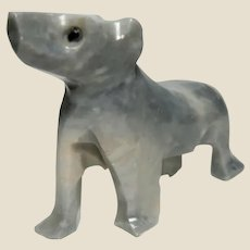 UNUSUAL - Carved DOG of Opaque Rock Crystal Quartz