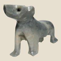 UNUSUAL - Carved DOG of Opaque Rock Crystal Quartz