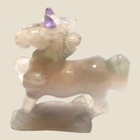 A Horse With Purple Ears!  Miniature Carved Rock Crystal Quartz With Amethyst