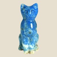 "Hand-Carved Miniature Kitten or Cat of Sodalite (believed to ""Keep You Shielded From Negative Forces in Our Imperfect World. "" )"