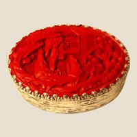 Pretty Cinnabar Oval Trinket Box, With Mirror Inside The Lid