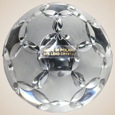 Fine 24% Percent Lead Crystal Soccer Ball Paperweight, From Poland