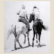"CARLTON (American Artist 20th Century)  Original Signed  Drawing ""Going To The Starting Gate"""