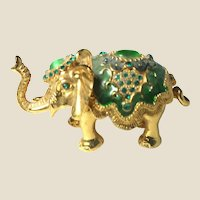 """Jeweled"" Elephant Trinket Box or Ring Box With Faux Emeralds"