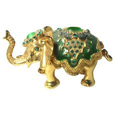 """Jeweled"" Elephant Trinket Box or Ring Box With Faux Emeralds"