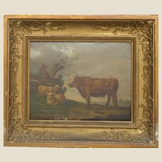 19th Century English School Oil Painting On Board With Shepherd, Bull and Sheep