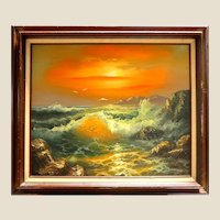 "Dramatic ""Sunrise Over The Sea"" Large Original Signed Oil on Canvas"