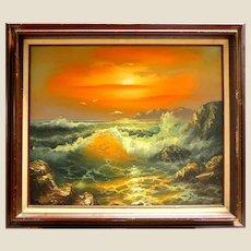 "Dramatic ""Sunrise Over The Sea"" Original Signed Oil on Canvas"