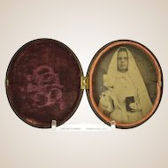 Antique Gutta Percha Union Case, Unusual Oval Shape, With Bride's Tintype Picture