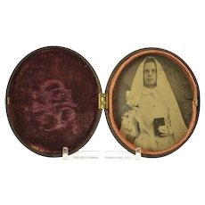 Antique Gutta Percha Union Case, Unusual Oval Shape, With Tintype Picture