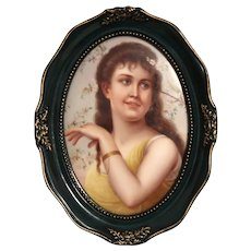 German Hand-Painted Porcelain Plaque Of A Beautiful Woman Surrounded By Flowers,  Framed