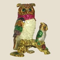 "Enamel and  ""Jeweled"" Mother and Baby Owl Trinket Box or Ring Box"