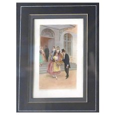 """""""Take Away Your Flowers, My Dear"""" - Antique Ltd. Edition Italian Lithograph by LUCIUS ROSSI (Italian, 1846-1913) With Certificate of Authenticity"""