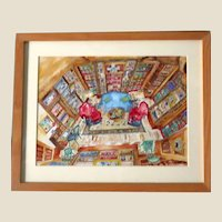 """Margaret Wicker Azzoni - Fascinating Original Ink and Watercolor Signed Painting - """"Love's Library"""""""