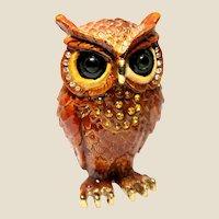 """Jeweled"" Owl Trinket Box Or Dresser Box"