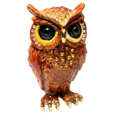 """Jeweled"" Owl Trinket Box Or Dresser Box"