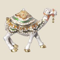 """""""Jeweled"""" Camel Trinket Box or Ring Box With Faux Diamonds and""""Pearl"""""""