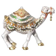 """Jeweled"" Camel Trinket Box or Ring Box With Faux Diamonds and""Pearl"""