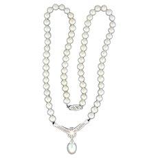 Natural Akoya Pearl and Diamond Necklace