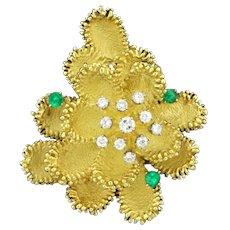 18k Gold Diamond and Emerald Custom Designed Designer Flower Pin