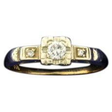 Vintage Three Stone Diamond Ring in 14K Yellow and White Gold