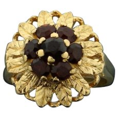 Garnet Child's Flower Ring in 18K Yellow Gold