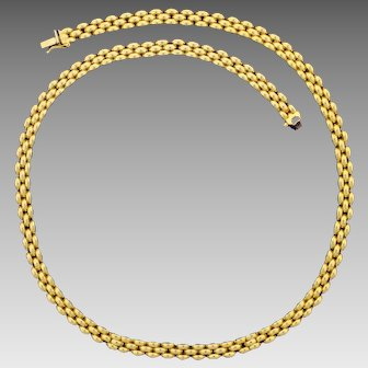 18 Inch Italian Made Panther Link Neck Chain in 14K Yellow Gold